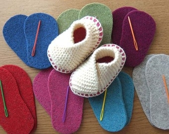 Baby Soles -  Thick Felt Soles for Bootees, Slippers and Socks