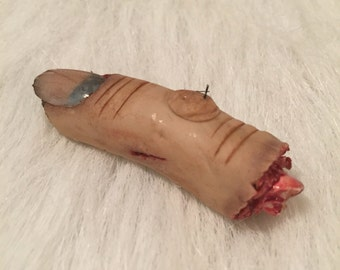OOAK Creepy Severed Human Finger, Prop, Fake, Halloween