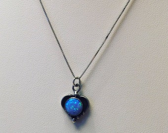 Heart opal sterling silver necklace
