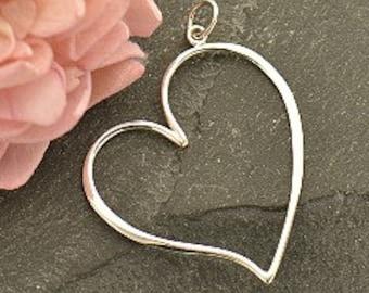 Sterling Silver Large Open Heart Pendant, 37x27mm