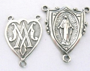 Reproduction Sterling Silver Rosary Connector, Sterling Silver Rosary Centerpiece Medal