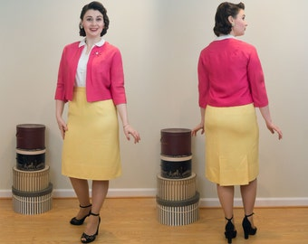 1950s Vintage Jacket - Pink Raw Silk Fashioned in a Perfect Crop - Volup Size - The Perfect Accessory