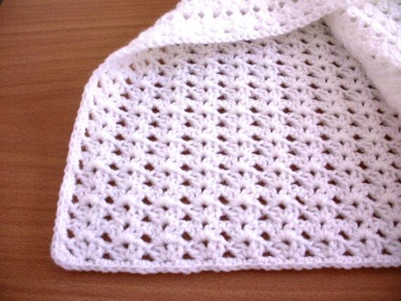 Double Knit Baby Blanket Pattern : Crochet baby blanket double knit crochet blanket white pram