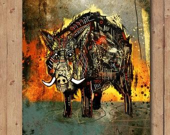 Boar.  Artwork. Signed print