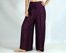 RAYON WRAP PANTS Purple - Steampunk, Medieval Clothing, Pirate Pants, Gypsy Costume, Cosplay, Larp Costume, Renaissance Festival, Zootzu