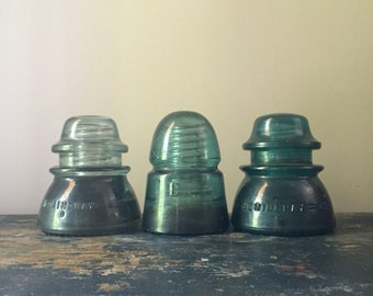 Set of Three Vintage Glass Pole Insulators