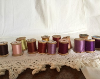 15 Spools of Vintage Thread, All 2 Warm Colors, Wooden Spools