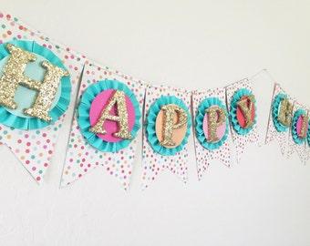 Confetti Sprinkles Happy Birthday Banner. Birthday Photo Prop. Custom Birthday Banner. Sprinkles Party. Confetti Banner
