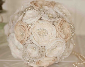 Fabric Flower Bouquet, Satin and Lace and Brooch Bridal Bouquet, shabby chic flowers, Cream, Dark Ivory, Light Ivory