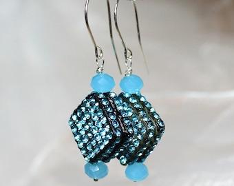 Festive sky blue marshmallow silver 925 earrings