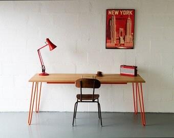 Desk, In Oak, Hairpin Legs, Industrial Desk, Office Desk, Writing Desk, Computer Desk Handmade, Eames, Mid-century.