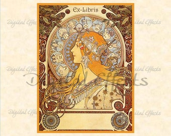 VINTAGE BOOKPLATE Zodiac Art Nouveau Alphonse Mucha Ex-Libris Printable, Instant Digital Download, Ephemera, Custom bookplates, Jpg PNG Pdf