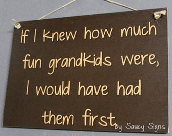 Grandkids First Grandparents Kids Chic Shabby Cute Wood Sign Kids Children Chic Wooden Father Pop Grandad Grandma Grandpa Rustic Home Decor