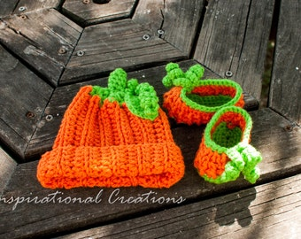 Crochet Newborn Baby Pumpkin Hat, Crochet Newborn Baby Pumpkin Shoes