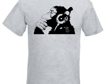 Banksy Monkey With Headphones Mens T-Shirt / Chimp Head Listening to Music Earphones / Street Art Graffiti Shirt + Free Decal Gift