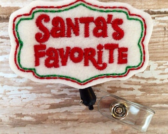Santa's Favorite retractable badge reel, Christmas felt badge reel, Holiday retractable badge reel,id badge reel, badge reel, id holder