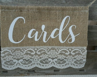 CARDS Hessian Banner Rustic Burlap Wedding Garland Bunting Sign Vintage Shabby
