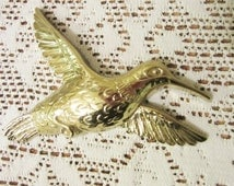 Humming Bird Plaque Homco Inc. Made in USA, 7669, Gold Bird