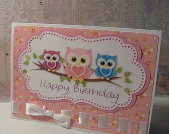 Happy Birthday owl trio/Pink