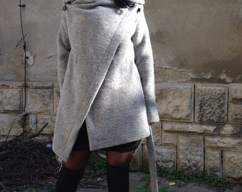 Blanket wrap coat, Square coat, wool wrapped coat, Black wool coat, Wool Cardigan, Grey coat, Black Cardigan