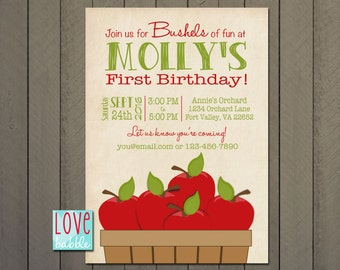 Apple Birthday Party Invitation, Apple celebration, Harvest Fall Autumn PRINTABLE DIGITAL FILE - 5x7