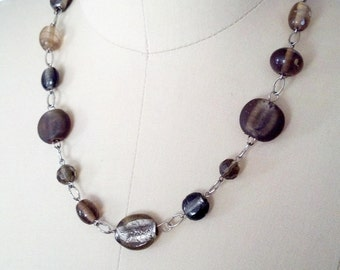 Smokey gray glass beaded silver necklace
