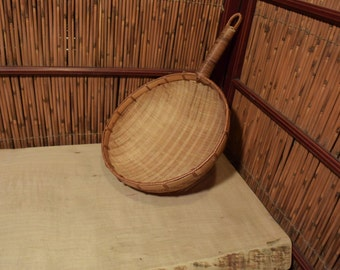 Vintage Chinese / Japanese Bamboo Basket With One Side Handle