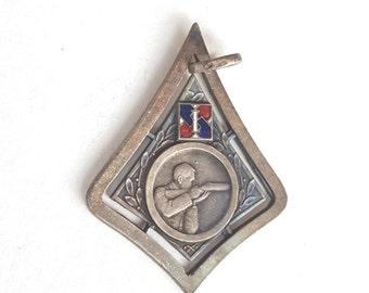 French Hunting Medal~Vintage Medal~Retro Pendant~Brevet du Tireur Scolaire~Red Blue Enamel/Silver Alloy~Shooting Competition~JewelsandMetals