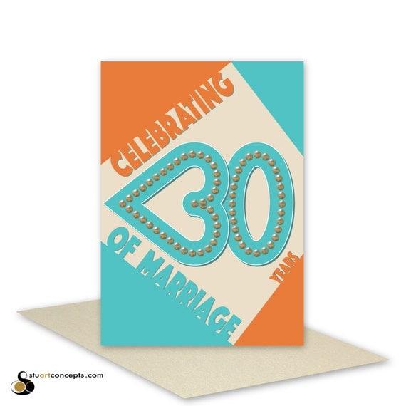 30 Year Anniversary Symbol: 30th Wedding Anniversary Card Pearl Retro 30 Heart Typography