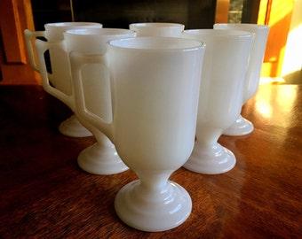 Milk Glass Irish Coffee Cups, White Coffee Mugs, Set of Six