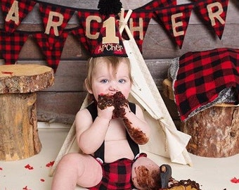 Lumberjack Red and Black Buffalo Plaid Check Bunting - Cabin decor banner - NAME INCLUDED in PRICE