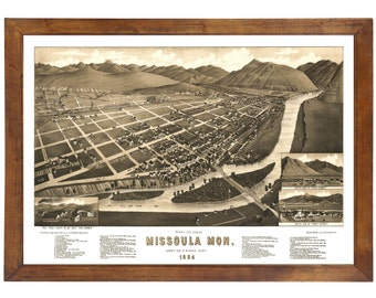 Missoula, MT 1884 Bird's Eye View; 24x36 Print from a Vintage Lithograph