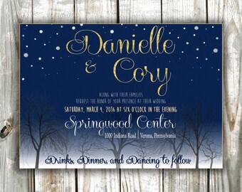 Starry Night Wedding Invitation, Starry Night, Constellation Wedding, Bare Trees and Starry Night, A Night Wedding, Midnight Blue