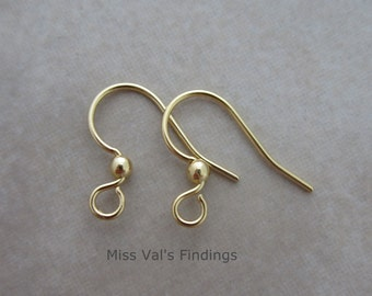 200 gold plated steel ear wires with ball