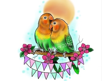 love birds A4 print *tattoo art*