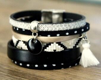 Liberty Brazilian Cuff Bracelet and black and White - Leather woven Bohemian snap cuff