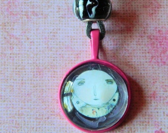 Pink and Gray Face Necklace