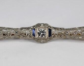 Antique Art Deco Diamond Sapphire Brooch Bar Pin .80ct Platinum &18K White Gold