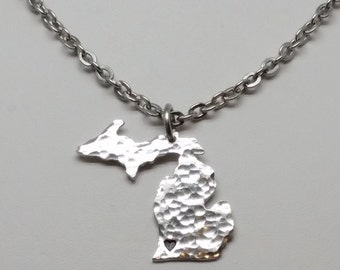 State of Michigan necklace, Hammered Michigan necklace
