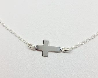 Sideways cross sterling silver necklace