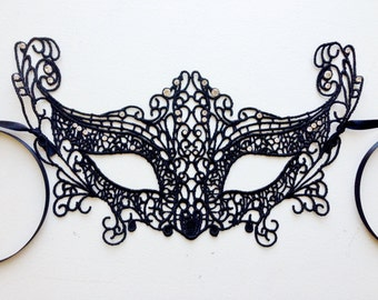 Black Lace Mask, Halloween Party Mask, Embroidery Lace Mask, Masquerade Mask