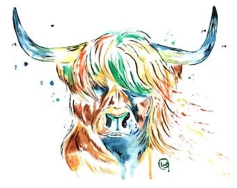 Highland Cow Art, Highland Cow Print, Highland Cow watercolour, Cow art. cow print, cow watercolour, watercolor, Scottish art, scotland