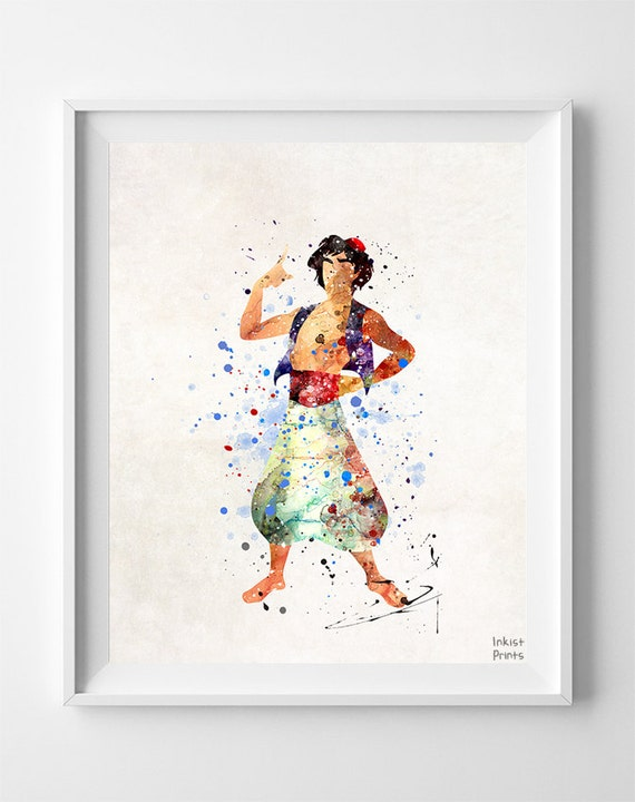 aladdin print aladdin watercolor art disney poster by