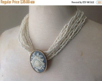 Sale / 40% Off / Cameo Necklace / Beaded Pearls / Vintage Costume Jewelry by Avon