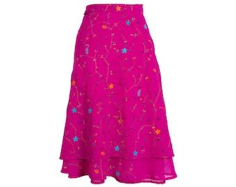 Silk Wrap Skirt, Pink Skirt, Embroidered Skirt, Long Skirt, Boho Chic Skirt, Boho Skirt, Plus Size Skirt, Wrap Skirt, Skirt, Silk Skirt,