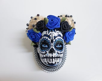 Spindle head of Mexican skull Barbie blue and silver