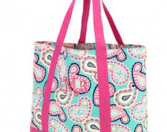 Paisley Tote Bag - Monogram It! - Bridesmaid Gift Idea - Accessory Bag - Carryall Bag - Monogrammed - Personalized Bridesmaids Gift