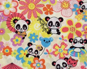 Smiling Panda Bears Trans-Pacific Cotton Fabric MY-15-147 Beige, By the Yard