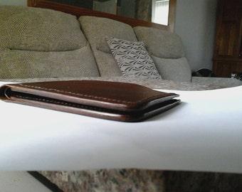 Dark Brown Veg Tan Leather Bill Fold Wallet