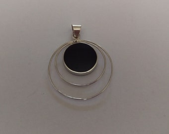 Handmade Sterling 925 silver and Onyx pendant.